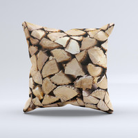 Chopped Wood Logs Ink-Fuzed Decorative Throw Pillow