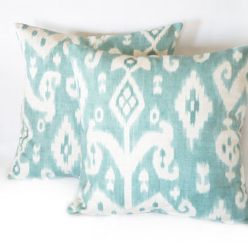 Soft Blue Ikat Linen Decorative Pillow Cover, Cushion Cover, Natural Pillow Case, Cushion Cover, Handmade Pillow,Two Sided Pillow