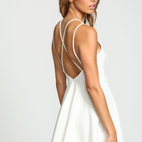 Ivory X Back Flare Knit Dress
