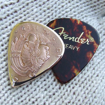 Premium Coin Guitar Pick - Handmade with a Vintage 1959 - Mexican 50 cent piece
