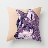 Blue eyed wolf Throw Pillow by Roland Banrevi