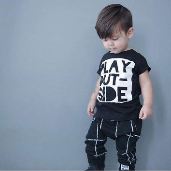 Toddler Newborn Boys Girls Baby PLAY OUTSIDE Letter Print T-shirt Tops+ Plaid Pants Trousers Outfits Set Clothing