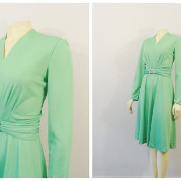SALE Vintage Dress 60s 70s Henry-Lee Henry Lee Pistacchio Mint Green Satiny Cocktail Dress Rhinestone Belt Buckle Size 8 Modern S - M