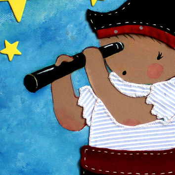 Pirate nursery painting for kid's room, baby room, pirate canvas, handmade details, fabric collage painting, children room decor canvas