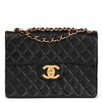 CHANEL BLACK QUILTED LAMBSKIN VINTAGE JUMBO XL FLAP BAG HB1727