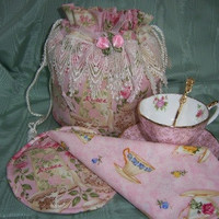 Pink Tea Time Tea Cup Carrier Tote