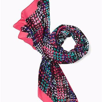 Kate Spade Multi Dot Oblong Cabaret Pink Scarf Brand New!
