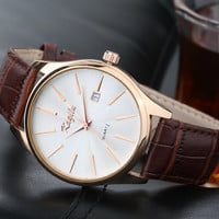 mens watches top brand luxury Calendar high quality fashion design Genuine leather men quartz watch 2015 hot sale