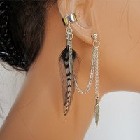 Feather Ear Cuff Wrap Black Rooster and Grizzly