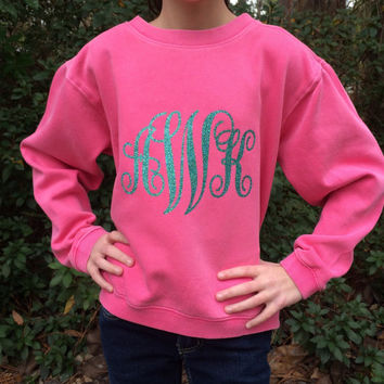 Monogrammed Comfort Colors Sweatshirt, Glitter Monogram Sweat shirt, Pullover, Sweat Shirt, Monogrammed Christmas gifts