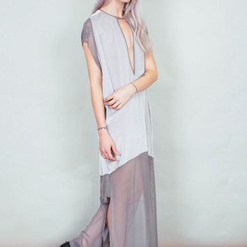 Spellbound - silver velvet and sheer maxi dress with thigh slits deep v-cut