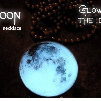 moon necklace glow in the dark after UV absorption necklace noctilucent necklace friendship love gifts unique lovers gifts