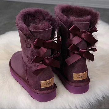 UGG : girl Large bow tie Keep warm Snow boots-9