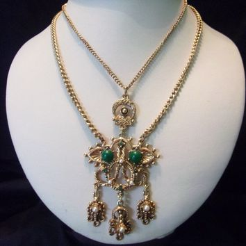 Florenza Victorian Revival Festoon Necklace Emerald Green Glass Rhinestone & Faux Pearl Drop Pendant