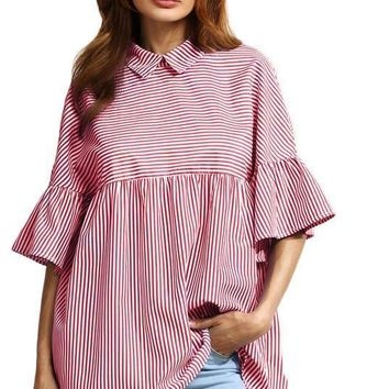 Stripe Babydoll Blouse Women Red Ruffle Sleeve Point Collar Cute Summer Tops Fashion Button Back Casual Blouse