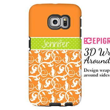 Samsung Galaxy S6 Edge case, personalized galaxy s6, orange galaxy S6 case, floral Galaxy S5 case, Galaxy S4 case, Samsung Galaxy case