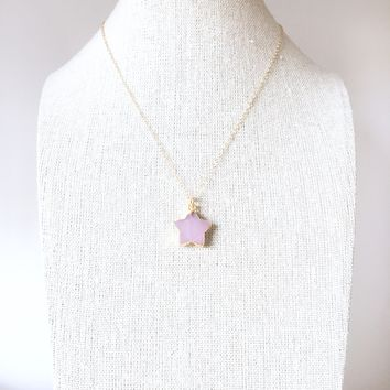 PINK STAR NECKLACE - GOLD FILLED CABLE CHAIN - PINK STONE