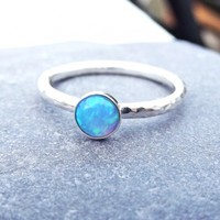 Sterling Silver Light Blue Opal Stacking Ring | Ginger Pickle | Handmade Jewellery, Accessories, Homewares and Stationery made by UK designers.
