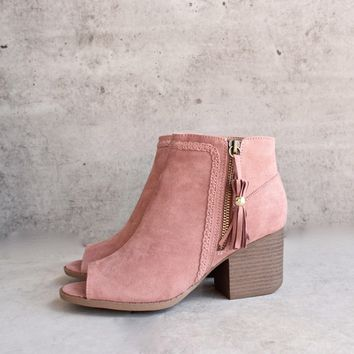 vegan suede tassel block heeled ankle boots - mauve