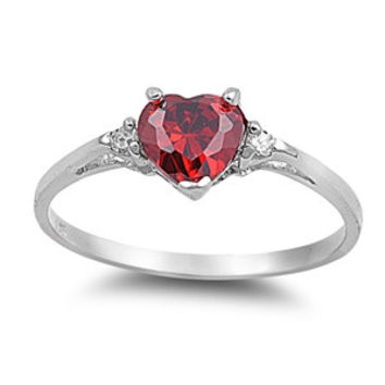 Sterling Silver Garnet Heart cut Kids and Ladies Ring size 3-12