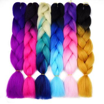 LMF78W Silky Strands Ombre Kanekalon Jumbo Synthetic Braiding Hair Crochet Blonde Hair Extensions Jumbo Braids Hairstyles