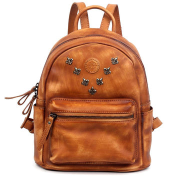 Cognac Leather Hand-Painted Backpack