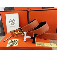 HERMES Men's belt H Logo Buckle Constance Reversible Orange Belt Leather 110cm* Tagre™