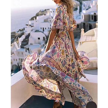 Women Sexy Collective V-neck Lovebird Floral Print Maxi Dress Drawstring Waist Back Tie Detail Bohemian Dress