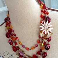Fall Inspired Necklace - Multi Strand Necklace with Vintage Brooch - CHLOE - Autumn Statement Necklace