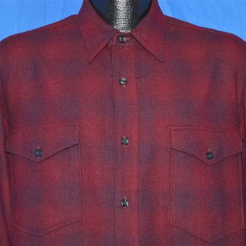 60s Pendleton Plaid Wool Button Down Western shirt Large