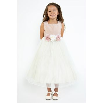 Dusty Rose Faux Silk Girls Dress with Ivory Tulle & Flower Trim 2T-12