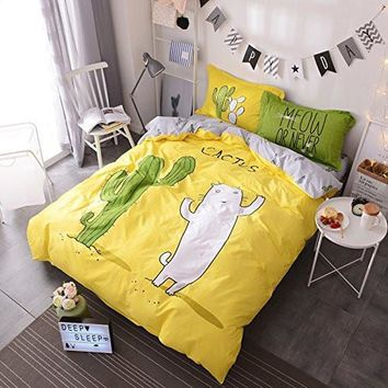 Cat Cactus Meow Or Never Full/Queen 5PC Duvet Sheet Bed Set