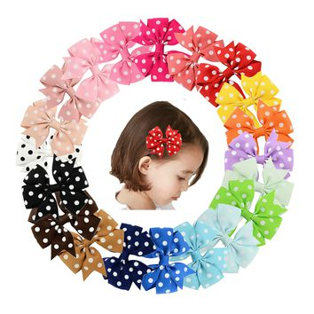 "20 Pcs/Lot Grosgrain 3"" Alligator Polka Dot Hair Bow Clips for Baby Girl Toddlers Kids Infant Children Handmade Barrettes Hair Accessories"
