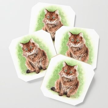 Somali cat portrait Coaster by savousepate