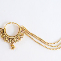 Gold Crystal Nose Ring Three Layer Hoop Chain/Indian Wedding Bridal Nose Nath