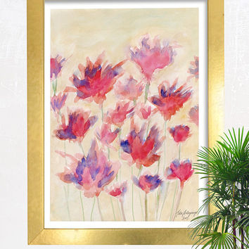 Crimson Haze Floral Abstract Watercolor Fine Art Giclee Print Original Artwork