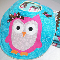 Owl Baby Girl Gift Set - Minky Burp Cloths and Bib - Appliqued Baby Bib and Burp Cloths