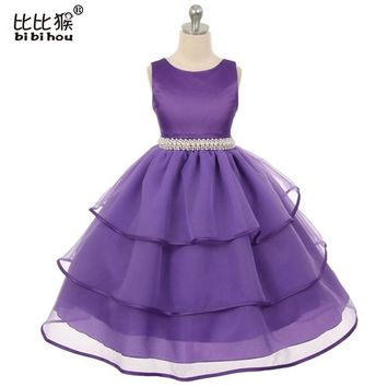 2016 New Girls Dress Princess dress children's wear Party veil girl wedding flower Baby girls dress 3-12yrs Baby girls clothes