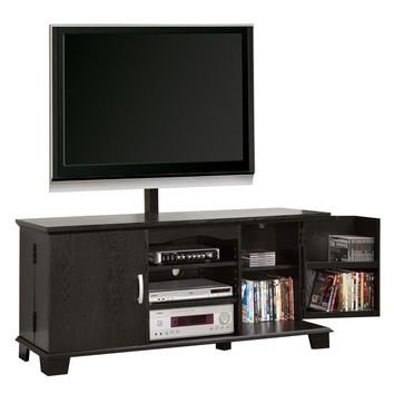 """60"""" Black Wood TV Stand Console with Mount"""