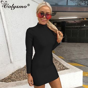 Colysmo Autumn Winter Bandage Dress Women Red Long Sleeve Turtleneck Back Hollow Out Sexy Dress Bodycon Dresses Women Party Nigh
