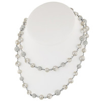 "Honora Sterling Silver 36 Inch ""Pop Star"" Necklace with White Round Ringed Freshwater Cultured Pearls and Pave Crystal Beads"