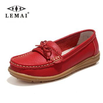 US SIZE Shoes Woman Genuine Leather Women Shoes Flats 4Colors Loafers Slip On Women's