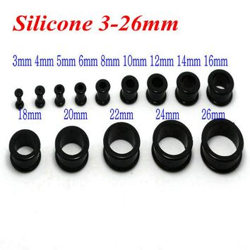 3-26mm black white 1pair silicone double flare ear plugs flesh tunnel gauges expander stretching wholesale body piercing jewelry