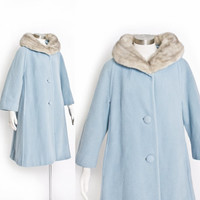 Vintage LILLI ANN Coat - 1960s Baby Blue Wool Grey MINK Swing Coat - Small / Medium