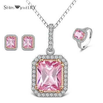 SHIPEI Brand Jewelry Cubic Zirconia Necklace Earrings Ring Set In Plated White Gold with Crystal, Fashion Jewelry Set for Women