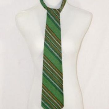 Green on Green Woven Necktie with Orange and by thedapperapple