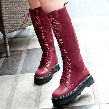 Shop Women's Knee High Combat Boots on Wanelo