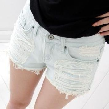 YESSTYLE: Cookie 7- Distressed Denim Shorts - Free International Shipping on orders over $150