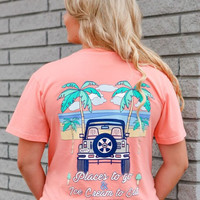 Jadelynn Brooke: Places to Go & Ice Cream to Eat Jeep V-neck {Coral}