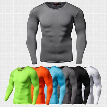Men Solid Color Compressing Shirt